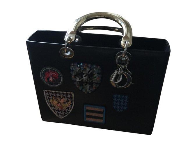 Christian Dior LADY DIOR Handbags Leather Black ref.102663