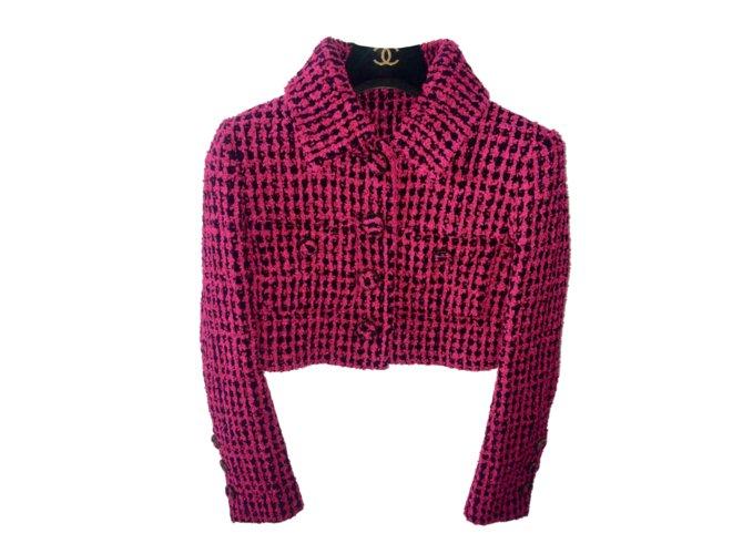 Chanel Chanel Short Jacket Jackets Viscose Pink ref.102686
