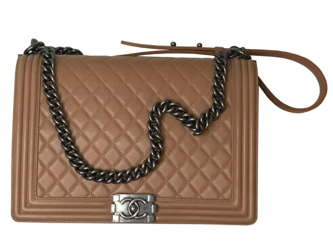 bbbce899e9ad Chanel LARGE BOY FLAP BAG Handbags Leather,Lambskin Other,Light  brown,Caramel ref