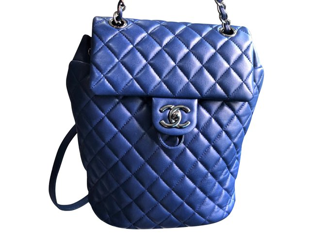Chanel Chanel Blue backpack with silver hardware Backpacks Leather Black ref.102709