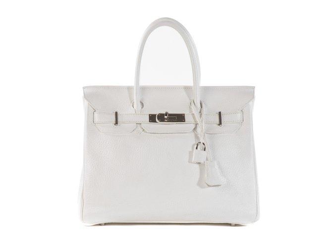 Hermès HERMES BIRKIN 30 Togo white leather in very good condition! Handbags Leather White ref.102733