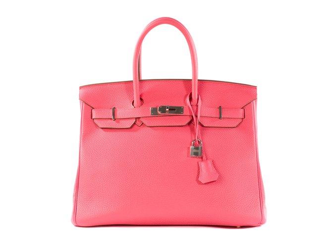 Sacs à main Hermès Superbe et rare Hermès Birkin 35 en cuir Togo Lipstick, PHW en excellent état ! Cuir Rose ref.102739