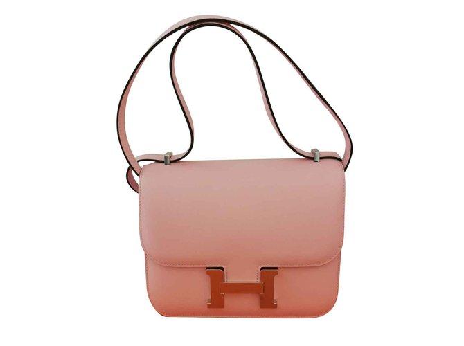 Hermès Hermès constance mini Handbags Leather Pink ref.102811