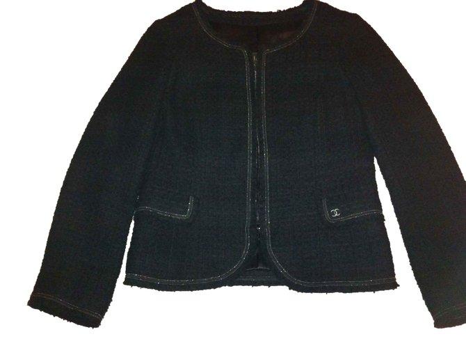 Chanel Jackets Jackets Tweed Black ref.102836