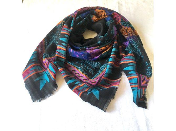 Foulards Lanvin 106x108 cm laine/soie Soie,Laine Noir,Violet,Turquoise ref.102859