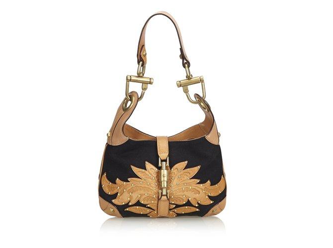 d2c905c183429c Gucci New Jackie Canvas Handbag Handbags Leather,Other,Cloth,Cloth  Brown,Black