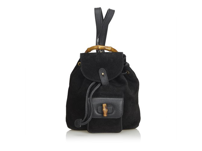 Gucci Mini Bamboo Suede Leather Backpack Backpacks Suede