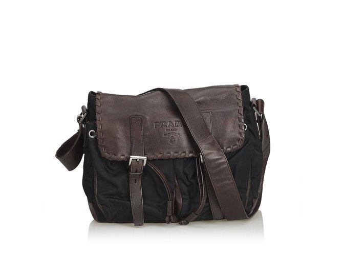 5b237d2ab0 Prada Nylon Messenger Bag Handbags Leather,Other,Nylon,Cloth Brown,Black,