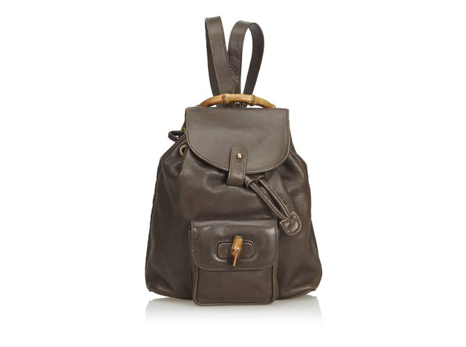 a9a6aa149ce Gucci Bamboo Leather Drawstring Backpack Backpacks Leather