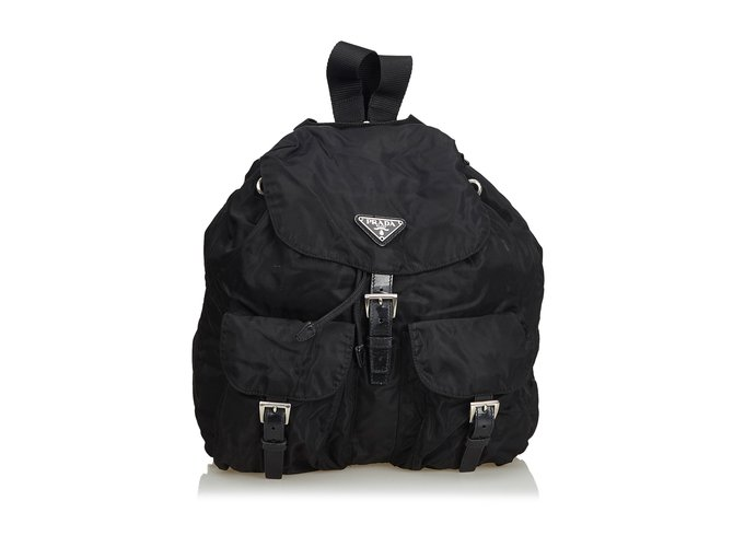 9dff455aaf43 Prada Nylon Drawstring Backpack Backpacks Leather,Other,Nylon,Cloth Black  ref.103080