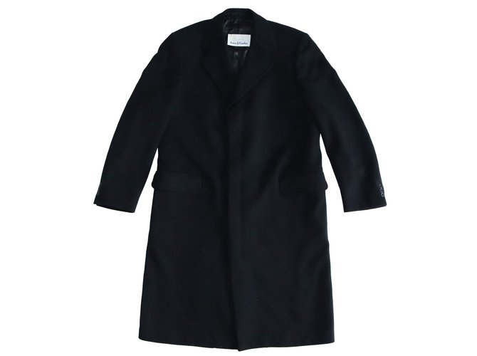 Aquascutum Men Coats Outerwear Men Coats Outerwear Wool,Viscose Black ref.103137