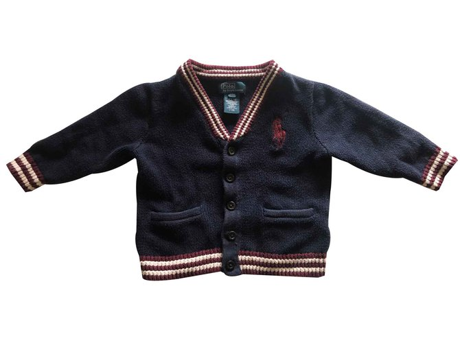 Polo Ralph Lauren Logo vest RALPH LAUREN Sweaters Cotton Navy blue ref.103156