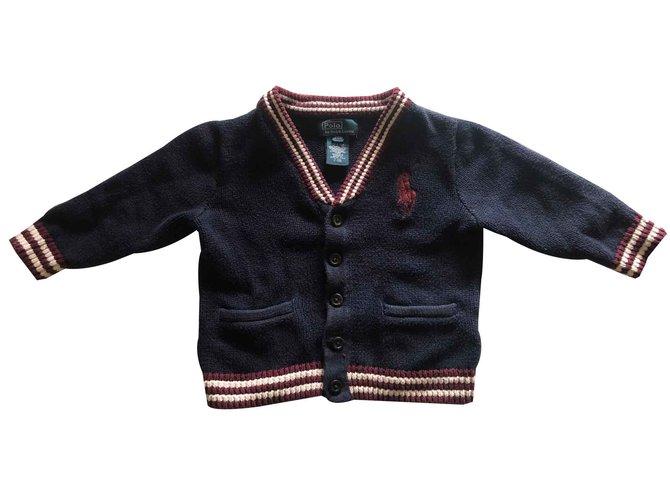 Pulls, gilets garçon Polo Ralph Lauren Gilet siglé RALPH LAUREN Coton Bleu Marine ref.103156