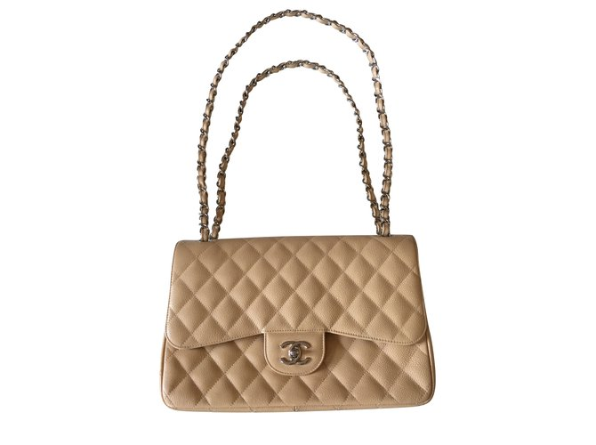 Chanel TIMELESS 2.55 Handbags Leather Beige ref.103225