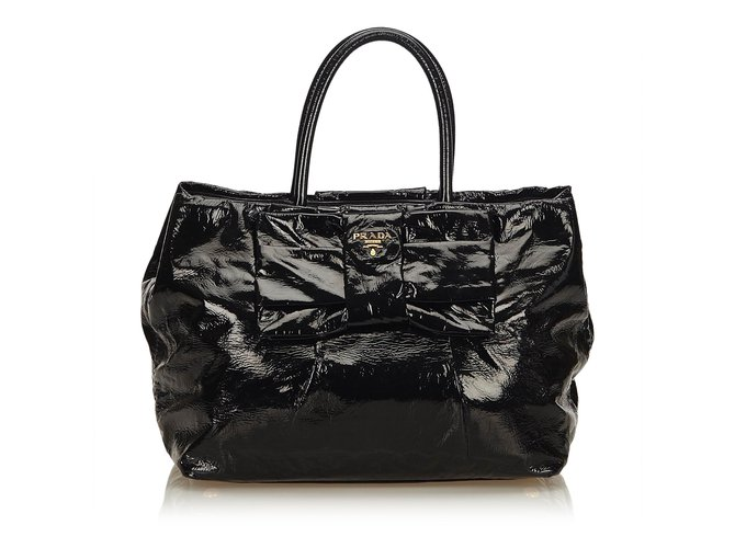 5bbdd4c105d4 Prada Patent Leather Tessuto Bow Tote Totes Leather