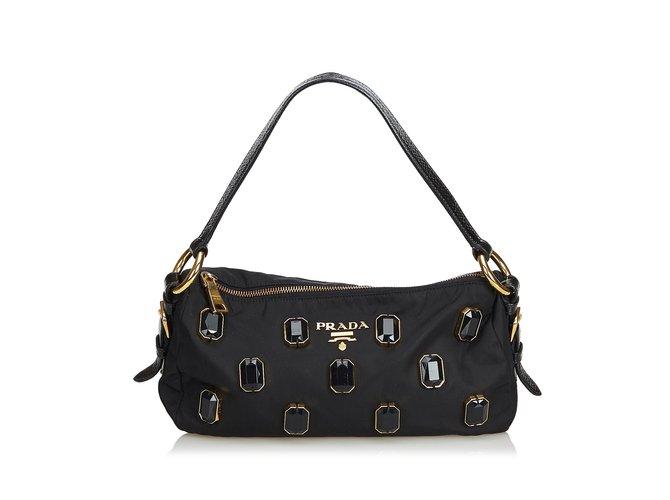 4741a501fe69fe Prada Jewel-Embellished Nylon Baguette Handbags Leather,Patent leather,Nylon,Cloth  Black