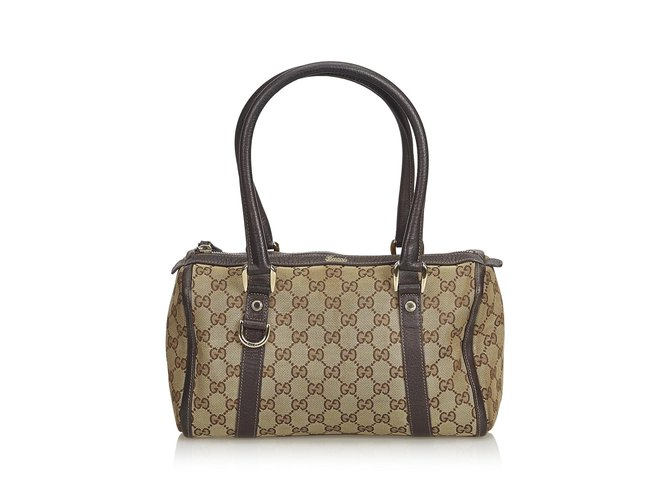 2034e8ab5 Gucci Guccissima Canvas Boston Bag Handbags Leather,Other,Cloth,Cloth Brown ,Beige