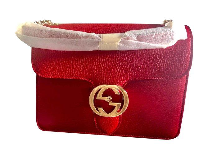 Gucci Gucci interlocking Handbags Lambskin Red ref.103334