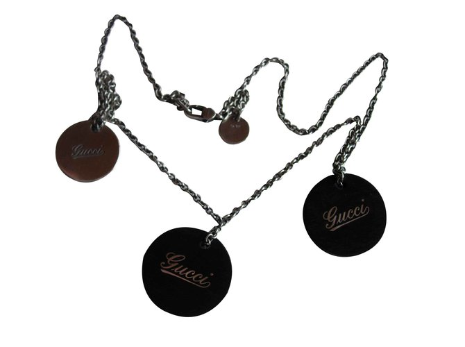Gucci Gucci vintage necklace in silver and wood Necklaces Silver,Wood Silvery,Dark brown ref.103355