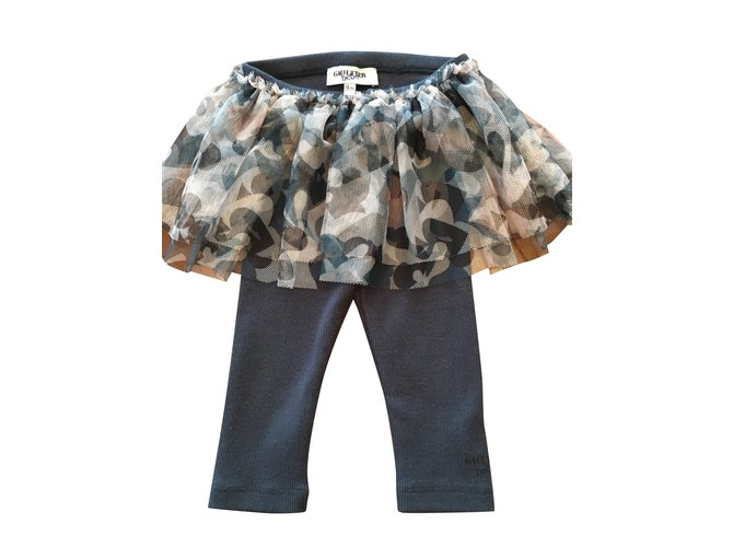 Pantalons fille Jean Paul Gaultier Jupe-Pantalon Jerzy de Gaultier Bébé. Coton,Tulle Bleu ref.103425
