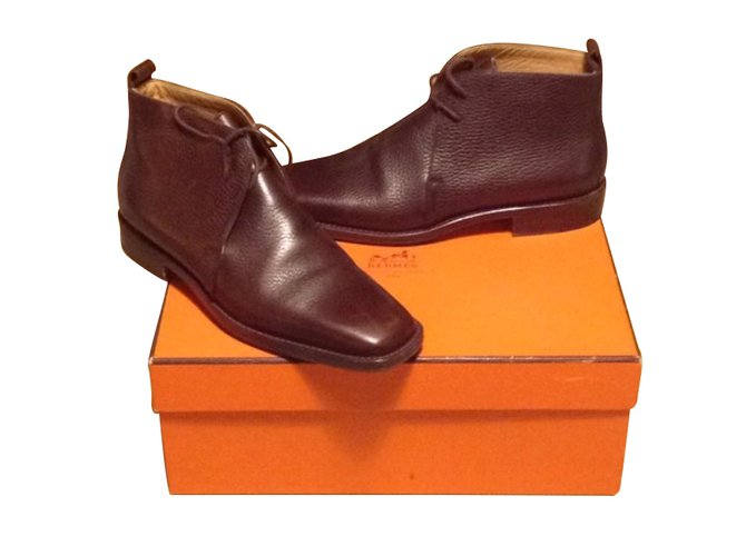Hermès Ankle Boots Ankle Boots Leather Dark brown ref.103466