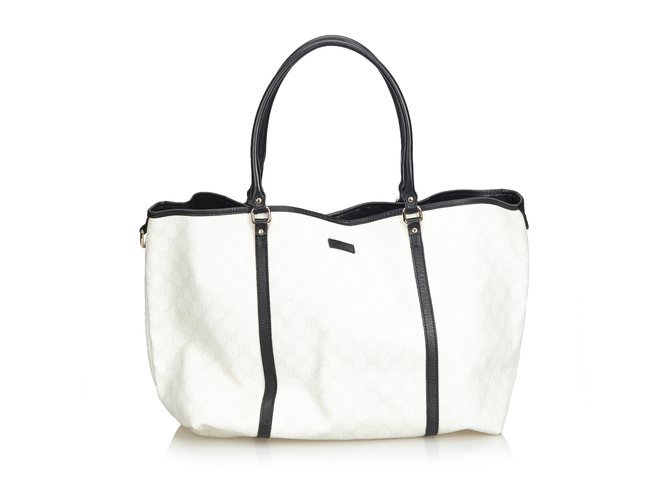 8a76a833f020 Gucci GG Supreme Coated Canvas Tote Bag Totes Leather,Other,Plastic  Black,White