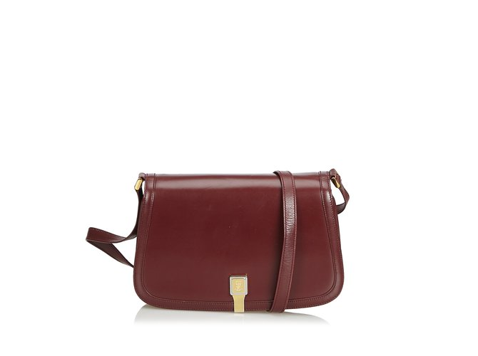b3e601b5b864a2 Gucci Old Gucci Leather Shoulder Bag Handbags Leather,Other Red,Dark red  ref.