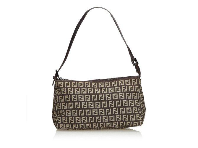 c6934421f8fa Fendi Zucchino Jacquard Baguette Bag Handbags Leather