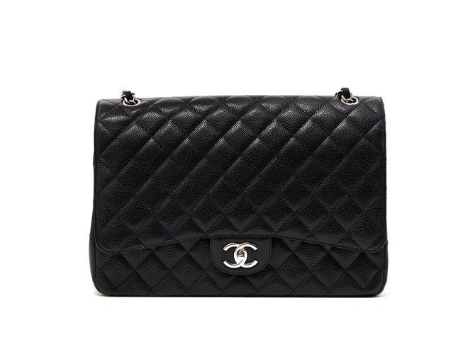 Sacs à main Chanel Grand Sac Classic Black Timeless Caviar Cuir Noir  ref.103618 595430297de