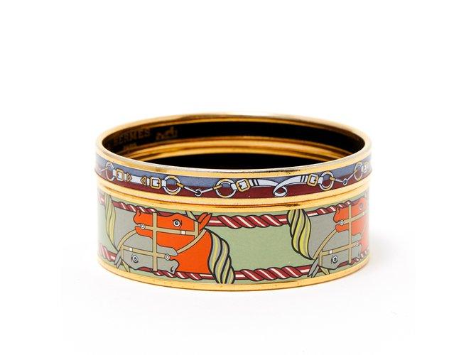 Bracelets Hermès ENAMEL DUO Métal Doré ref.103636