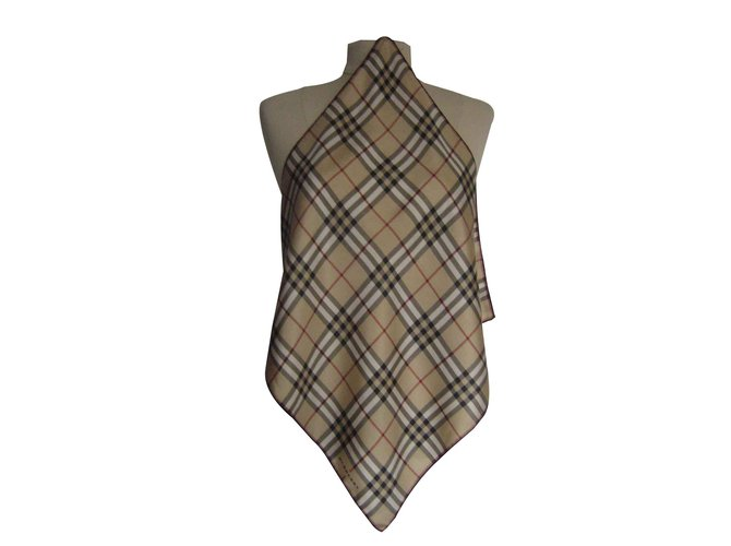 801ec280116 Foulards Burberry Burberry gavroche foulard 45x45 classic check doré Soie  Beige ref.103637