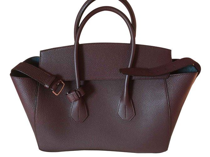 ede4ed7722 Bally Bally bag Medium model top Handbags Leather Dark red ref.103641