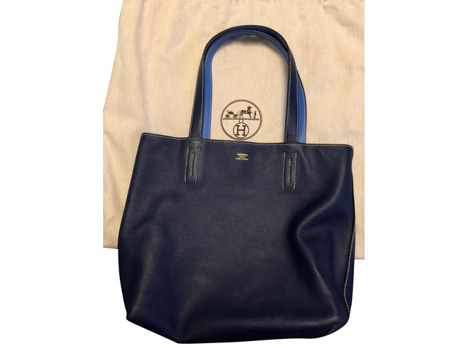 Hermès lined meaning Handbags Leather Blue ref.103772