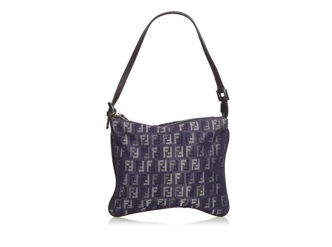 48a365fb7f12 Fendi Zucchino Canvas Baguette Handbags Leather