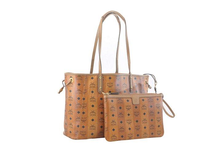 MCM MCM Logos Pattern Handbags Other Brown ref.104067