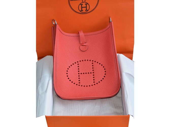 0db292756312 Hermès Hermès bag Evelyne 16 Clemence Red Peony Leather Canvas Crossbody  Rose Sakura Handbags Leather Red