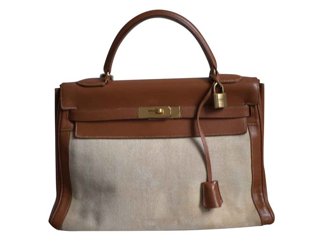 Hermès Kelly II Barenia Etoile Canvas Linen 32 Handbags Leather Brown ref.104333