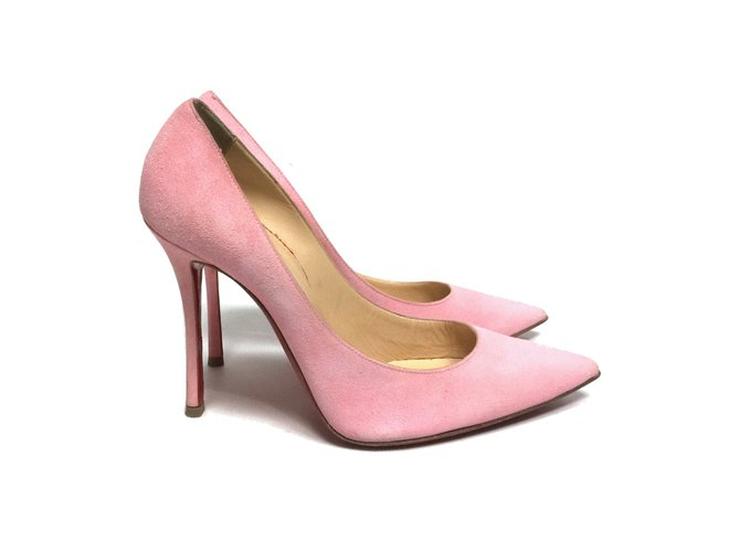 Escarpins Christian Louboutin Decoltish 100 mm en daim rose Suede Rose ref.104365