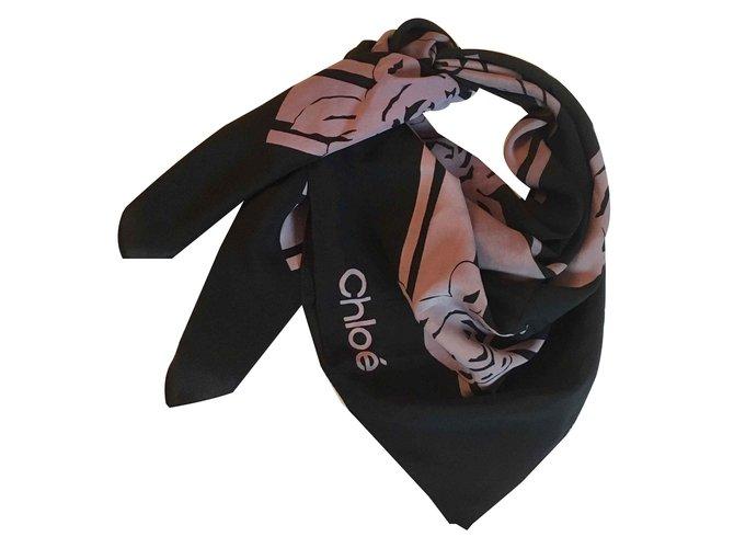 Chloé Silk scarf 76x82 cm Scarves Silk Black,Lavender ref.104385