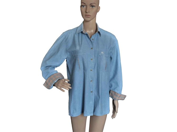 Burberry Tops Tops Cotton Blue ref.104443