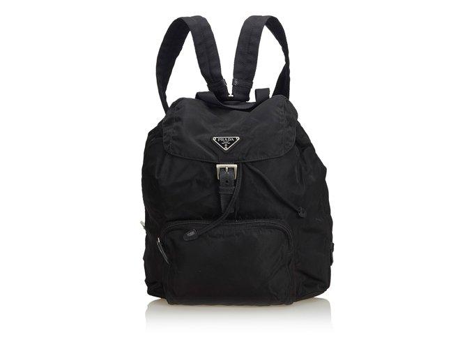 38c17c3a0bd4 Prada Nylon Drawstring Backpack Backpacks Leather,Other,Nylon,Cloth Black  ref.104561