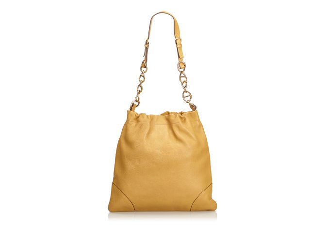 282fd0a28253 Prada Leather Shoulder Bag Handbags Leather,Other,Metal Brown,Beige,Golden  ref