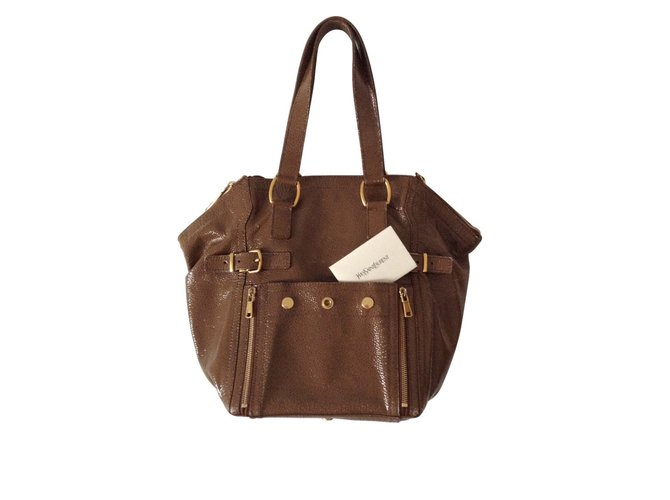 Sacs à main Yves Saint Laurent Downtown Cuir vernis Marron ref.104650