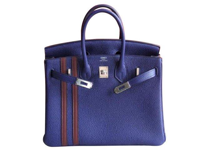 Sacs à main Hermès Hermes L'officier Birkin 25 à Blue Encre Cuir Rouge,Bleu ref.104745
