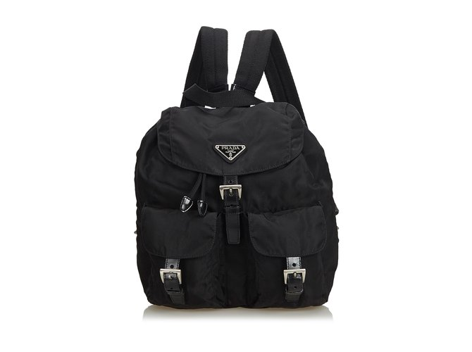 406ef11ce297 Prada Nylon Drawstring Backpack Backpacks Leather,Other,Nylon,Cloth Black  ref.104825