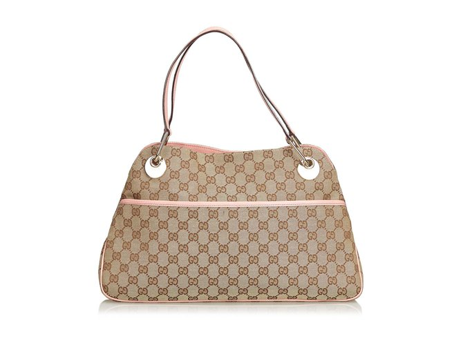 8ee923e6f601 Gucci GG Jacquard Tote Bag Totes Leather,Other,Cloth Brown,Pink,Beige