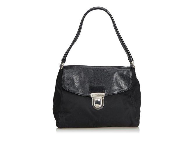 a21386a28e1e Prada Nylon Shoulder Bag Handbags Leather,Other,Nylon,Cloth Black ref.104868