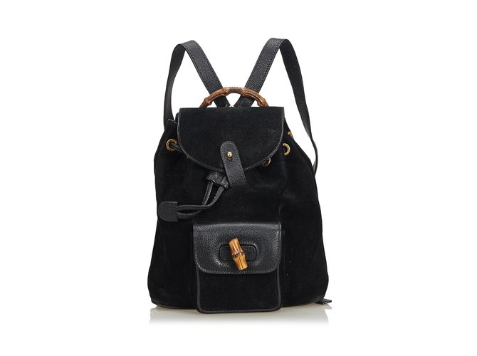 798a4471d61 Gucci Bamboo Nubuck Leather Backpack Backpacks Leather