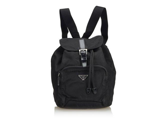 f7bcd9012708 Prada Nylon Drawstring Backpack Backpacks Leather,Other,Nylon,Cloth Black  ref.104896