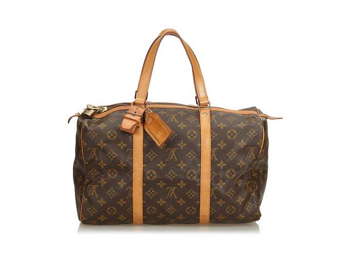 e94e8a32c Louis Vuitton Monogram Sac Souple 35 Travel bag Leather,Cloth Brown  ref.104913